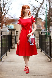 Bleu Avenue - Unique Vintage 1950s Red Cotton Bow Sleeve Swing Dress, Qupid Red Strappy Heels, Nila Anthony Ice Cream Sundae Purse - That Little Red Swing Dress