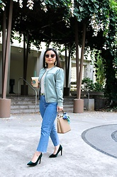 Kristen Tanabe - Hinge Green Bomber Jacket, Free People Sheer Polka Dot Top, Forever 21 Cropped Jeans, Forever 21 Emerald Velvet Pointed Pumps, T.J. Maxx Structured Beige Purse, Silk Scarf, Jules Smith Love/Dream Earrings, Miu Butterfly Frame Sunglasses - Stopping to Smell the Flowers
