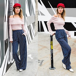 Ohn MintyFresh - Brixton Sailor Cap, Topshop Off Shoulder Top, Lf Stores Stripe Pants - Sailor Babe
