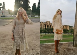 Eleonora Albrecht - Newchic Suede Brown Boots, Newchic Lace Dress, Newchic Cross Shoulder Bag - Boho Chic Outfit