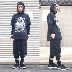 @KiD - Anti Crust Works War Beenie, Life Jap Crustcore Tee, Code Crust Shorts, Air Walk The One - JapaneseTrash332