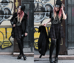 Sofi B. - Reserved Black Knitted Hat, Black Printed T Shirt, Brown Tartan Skirt, H&M Black Thigh Socks, Reserved Black Oxford Shoes, Reserved Black Leather Coat - I'm excited
