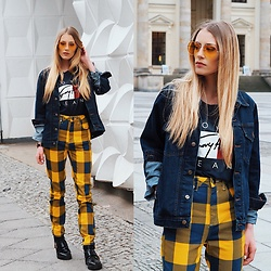 Laura Simon - Asos Yellow Pants, River Island Black Boots, Tommy Hilfiger Blue Shirt With Print, Urban Outfitters Yellow Glasses, Soniush Blue Denim Jacket - Yellow Vibes 💛