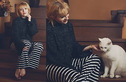 Anca Varsandan - Rosegal Sweater, Rosegal Striped Pants, Christian Dior Bracelet - Lounging At Home