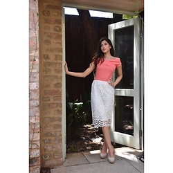 Iman Coovadia - Forever New Pencil Skirt, Witchery Top, Zara Nude Suede Heels - Formal Summer Chic