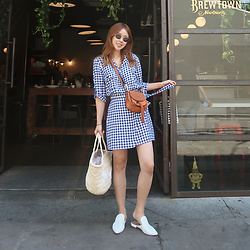 Rekay Style - Majorelle Check Dress, Chloe Hudson Bag, Witchery White Mules - Spring Check
