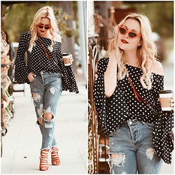Zia Domic - Blvd Polka Dot Top, Vici Dolls Boyfriend Jeans - Red & Dots