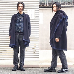 @KiD - Vintage Fringe Cape, Muji Denim Jacket, Ch. Side Line Pants, Dr. Martens 3hole Shoes - JapaneseTrash335