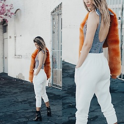 Ohn MintyFresh - Topshop One Piece Swimsuit, House Of Cb Faux Fur Jacket, Zara Sweat Pants - Swimsuit and faux fur