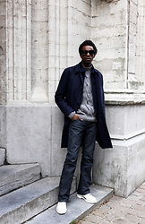 Jon The Gold - Cos Blue Coat, Gant Grey Jumper, Diesel Wide Leg Pants, Dr. Martens White Boots, Ace & Tate Black Sunglasses - Off-Duty Tuesday