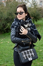 Marija M. - Zaful Half Frame Sunglasses, Zaful Plaid Checked Scarf, C&A Faux Leather Jacket - Monochrome