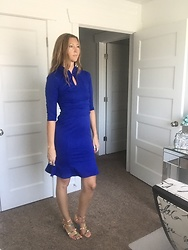 Cindy Batchelor - Blue Keyhole 3/4 Sleeve Sheath Dress - Blue Keyhole 3/4 Sleeve Sheath Dress