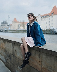 Frankie Miles - J Crew Jeans Jacket, Woodwood Rose Skater Dress, Topshop Biker Boots - Dirty Berlin