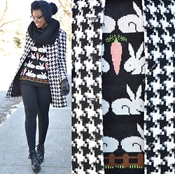 Sushanna M. - Thrifted Vintage Houndstooth Coat, Thrifted Black Platform Boots - Double Vision