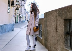 Veronika Lipar - Escada White Track Pants With 2 Black Side Stripes, Maxmara Off White Double Breasted Wool Coat, Diesel White Leather Sneakers, Forzieri Blue Leather Gloves, Escada Yellow Mustard Shoulder Bag - SPORTY ELEGANT STYLE – IS THAT EVEN A THING?