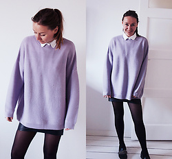 Magna G. - Www.Lovebeingpetite.Com - Purple knit sweater and a leather skirt