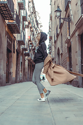 Adriana M. - Uniqlo Timothy Goodman Hoodie, Uniqlo Checkered Pants, Pinko Beige Coat, Adidas White Sneakers - Streets of Barcelona #1