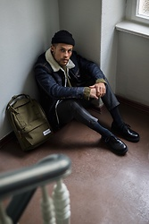 Kevin Elezaj - Zara Shoes, Topman Suit Pants, Cos Knitwear, Levi's® Jacket, Topman Beanie, Eastpak Bag - Eastpak 2018