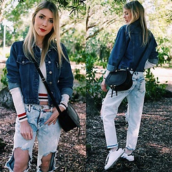 Zuzana - Forever 21 Distressed Boyfriend Jeans, Thrifted Denim Jacket, New Yorker Striped Sweater, Adidas Sneakers, Chloe Crossbody - DENIM ON DENIM