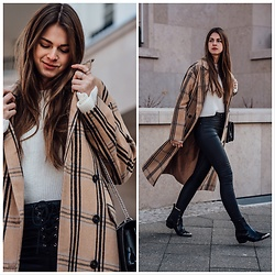 Jacky - Asos Coat, Missguided Pants, Asos Shoes, Na Kd Pullover, Agneel Bag - Plaid camel coat.