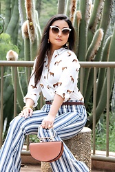 Kristen Tanabe - Forever 21 Horse Print Shirt, Free People Striped Jeans, Forever 21 Petite Crescent Purse, Gucci Mother Of Pearl Sunglasses - Wild at Heart