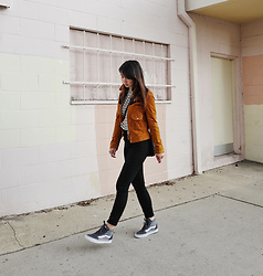 Tania H - Mango Suede Jacket, Vans Ward High Top Sneaker - High Tops