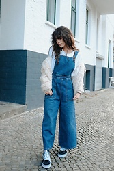 Frankie Miles - Topshop Dungaree, Topshop Teddy Jacket, Woodwood White T Shirt, Vans Sk8hi - Dungaree girl