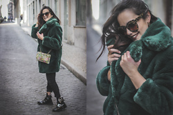 Sara Meess - Cortefiel Bag, Ego Boots, Giant Vintage Sunglasses, Mango Faux Fur Coat - The Blogger Coat