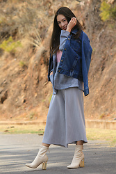 Chyuni Doll - Ankle High Boots, Denim Jacket - Layering two kinds