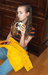 Noora Vesalainen - Zara Striped T Shirt, Zara Yellow Denim Jacket, American Apparel Jeans, Tfs By Noora Coffee Mug - A cup of tea