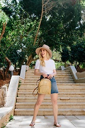 Meagan Brandon - Brixton Hat, Bodysuit, Denim Skirt, Brahmin Backpack, Sandals - Summer Travel Outfit
