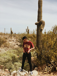 Drew Harrison - Converse Chuck Taylor Black High Top, Express Skinny Black Stretch Jeans, Tommy Hilfiger Maroon Cotton T Shirt - Cactus & Tommy