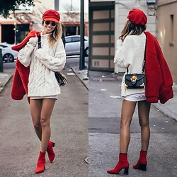 Ohn MintyFresh - Brixton Sailor Hat, Zara Chunky Knit Sweater, Zara Ankle Booties, I.M.Gia Teddy Coat - All red everything <3