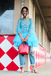 Crystal Wood - Molly Goddard Tulle Dress, Topshop Sequin Leotard, Balenciaga Red Patent Bazaar Tote, Gucci Floral Mules, R13 Denim Ripped - BEGIN THE NEW WORK