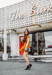Indiefoxx - Glamorous Dress, Nasty Gal Boots, Mary Frances Accessories Bag - Dandelion