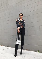 Jessi Malay - Zara Printed Bodysuit, Carbon38 Cigarette Pant, Salar Gaia Chain Crossbody, Tony Bianco Davis Bootie, Baublebar Penelope Hoop Earrings, Quay X Tony Bianco Lulu Sunglasses - Easy Florals