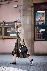 Esra E. - Furla Two Tone Leather Bag, Asos Olive Green Midi Ruffles Skirt, Vans Black Sneakers, New Look Creme Trenchcoat - Spring in the town