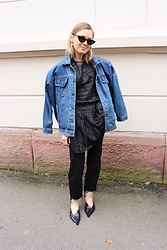 Anna Borisovna - Le Specs Sunglasses, Magali Pascal Dress, H&M Jeans, Zara Shoes - The Black Dress