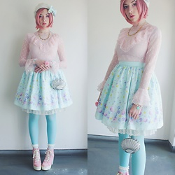 Candy Thorne - Handmade By Me Mermaid Skirt, H&M Blouse - Aquatic Lolita