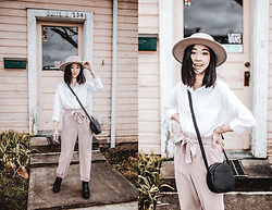 Gabby Chia - Dex White Button Up, Hunni's Blush Wide Brim Hat, Co Lab Circle Cross Body Bag, Dex Blush Tie Waist Trousers, Qupid Black Boots - Pink on Pink