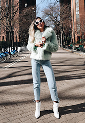 Raquel Paiva - Topshop Coat, Tobi Jeans, Shoes Of Prey Boots - Mint fur