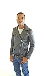 Thomas G - Forever 21 Faux Leather Moto Jacket, Levi's® 511 Corduroy Strauss & Co, Cross Bracelet, Contributing Writer At Virily, Contributing Writer & Photographer At Yelp - Faux Leather Moto Jacket + Corduroy jeans