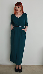 Alphie LaFray - 80's Inspired Dress, Thrifted Green Jewelled Pendant, Platform Wedges - Why don't you ask him what's going on?