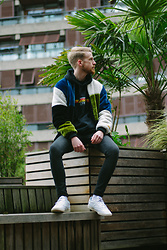 Ian Reynolds - The New County Patchwork Bomber, Urban Outfitters Black Orion Hoodie, Asos Washed Black Skinnies, Reebok Classic Reeboks - Looking for something
