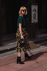 Ana Vukosavljevic - H&M Blouse, H&M Skirt, Zac Posen Bag, Ego Official Ankle Boots - Floral Skirt