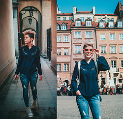 Carolyn W - Vipshop Spring, 1822 Denim Pearly, H&M Grey, Free People Pink - Sunshine in Warsaw