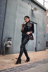 Isabel Alexander - Gap Black Coated Denim, Proenza Schouler Black Studded Crossbody Bag, Clothia Convertible Vest - Badass Vest