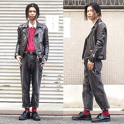 @KiD - Levi's Red Striped Shirts, Ch. Leather Riders Jacket, Cheap Monday Striped Black Jeans, Dr. Martens 3 Hole Shoes, Funk Plus Studs Belt - JapaneseTrash354
