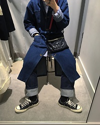 Mushroooooom H - Lee Denim Coat, Undercover Cross Bag, Plac Denim Pants, Converse Sneakers - Denim X Denim