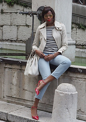 PAMELA - Urban Outfitters Aviator Sunglasses, Mango Trench Coat, Zara Striped Top, Prada Handle Bag, Sole Society Kitten Heels, Frame Straight Cropped Jeans - NAUTICAL STRIPES & RED ACCENTS